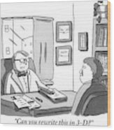 A Suited Man Behind A Desk Addresses A Writer Wood Print by Zachary Kanin