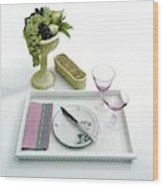 A Summer Table Setting On A Tray Wood Print