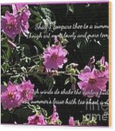 A Summer's Day Pink Romance Wood Print