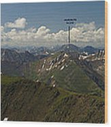 A Summit View Panorama With Peak Labels Wood Print