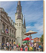 A Sunny Afternoon In Jackson Square Oil Wood Print by Steve Harrington