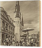 A Sunny Afternoon In Jackson Square Sepia Wood Print