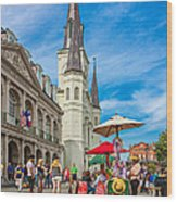 A Sunny Afternoon In Jackson Square Wood Print