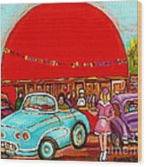 A Sunny Day At The Big Oj- Paintings Of Orange Julep-server On Roller Blades-carole Spandau Wood Print
