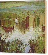 A Swan's Lake Wood Print