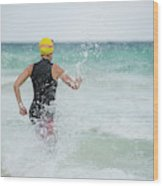 A Swimmer Running To The Ocean Wood Print