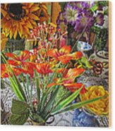 A Table Of Flowers Wood Print