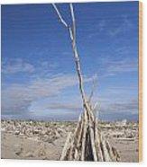 A Teepee Madeup Of Driftwood At Bandon Beach Wood Print