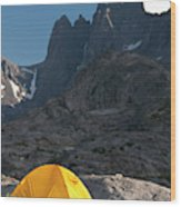 A Tent Is Dwarfed By The High Peaks Wood Print