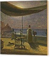 A Terrace In Amalfi In Moonlight Wood Print
