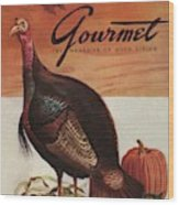 A Thanksgiving Turkey And Pumpkin Wood Print