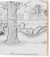 A Therapist Sits On A Swing Behind And Addresses Wood Print