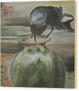 A Thirsty Crow Wood Print by Prasenjit Dhar