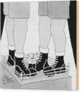 A Tiny Emcee In A Boxing Ring Is Seen Standing Wood Print