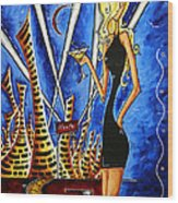 A Toast To The Little Black Dress By Madart Wood Print