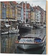 A Tour Boat At Nyhavn Wood Print
