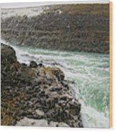 A Tourist Takes A Photo At Gullfoss Wood Print
