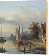 A Town By The River Wood Print