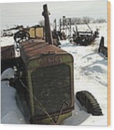 A Tractor In The Snow Wood Print