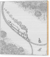 A Train Heads Toward A Tied Up Victim Traveling Wood Print