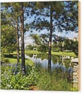 A Tranquil Pond At Walt Disney World Wood Print