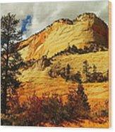 A Tree And Orange Hill Wood Print