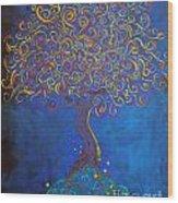 A Tree Of Orbs Glows Wood Print