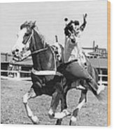 A Trickriding Cowgirl Wood Print