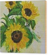 A Trio Of Sunflowers Wood Print