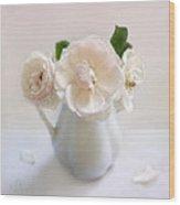 A Trio Of Pale Pink Vintage Roses Wood Print