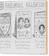 A Triptych Of Parental Valentines Day Cards That Wood Print