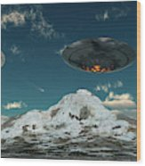 A Ufo Flying Over A Mountain Range Wood Print