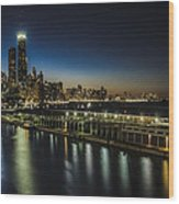 A Unique Look At The Chicago Skyline At Dusk Wood Print
