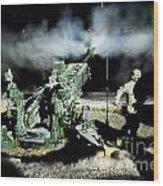 A United States Gun Crew Fire Illumination Rounds At Forward Operating Base Hadrian Wood Print