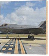 A U.s. Air Force F-35a Taxiing At Eglin Wood Print