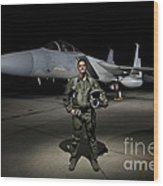 A U.s. Air Force Pilot Stands In Front Wood Print by Terry Moore