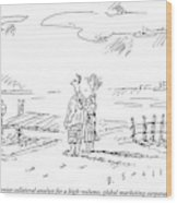 A Vacationing Couple Stands On A Beach Wood Print