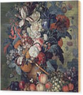 A Vase Of Flowers With Fruit Wood Print