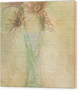 A Vase Of Gerbera Daisies In The Sun Wood Print