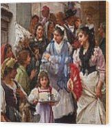 A Venetian Christening Party, 1896 Wood Print by Henry Woods