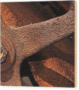 A Very Rusty Steering Wheel Wood Print