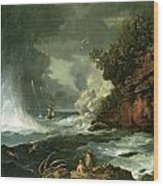 A View Of Cape Stephens In Cook's Straits With Waterspout Wood Print