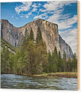 A View Of El Capitan From The Merced River Wood Print