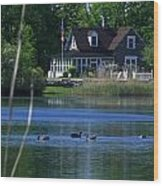 A View Of Some Ducks Enjoying Round Pond At The United States Military Academy Wood Print