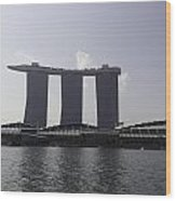 A View Of The Three Towers Of The Marina Bay Sands In Singapore Wood Print