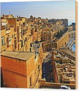 A View Of Valletta's Waterfront Wood Print