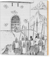 A Viking Army Stands Before A Castle Gate Where Wood Print