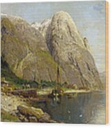 A Village By A Fjord Wood Print