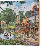 A Village In Summer Wood Print