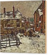 A Village In The Snow Wood Print